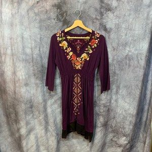 Johnny Was Maroon Knit V Neck Embroidered Dress S